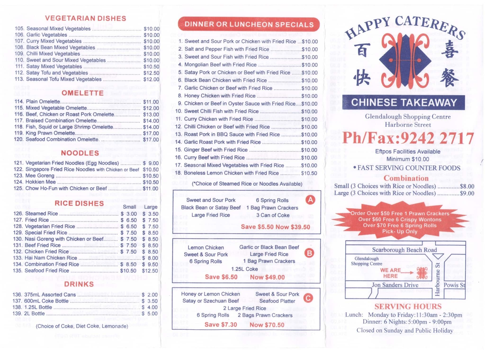 happy caterers chinese takeaway menu  urbanspoon/zomato