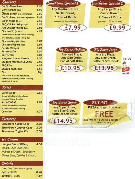 Menu At Farmhouse Pizza Pizzeria Wallington 131 Stafford Rd