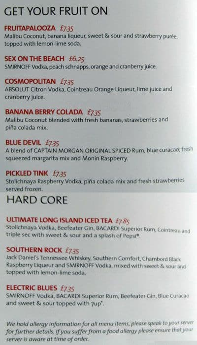 Hard Rock Cafe Drinks Menu Glasgow