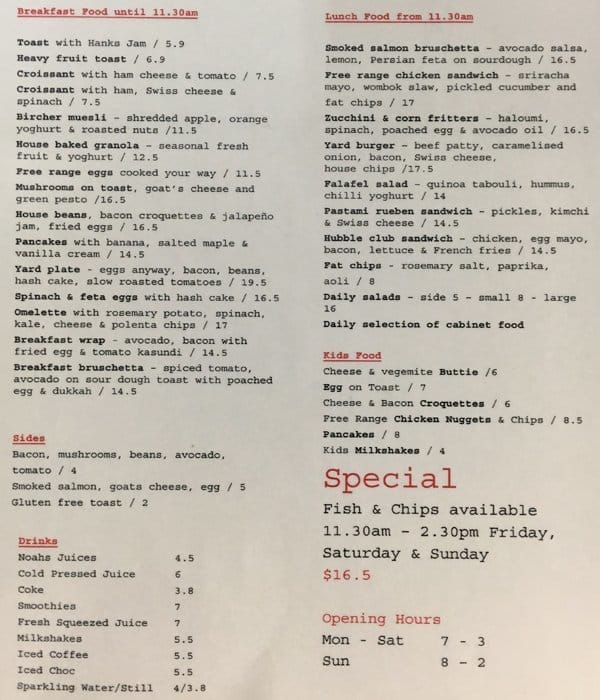 hubbles yard cafe menu menu for hubbles yard cafe east fremantle