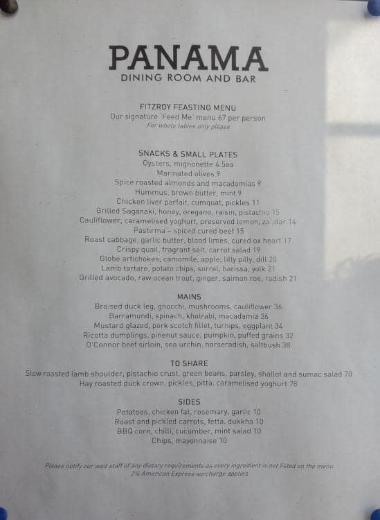 The Panama Dining Room And Bar Fitzroy Menu