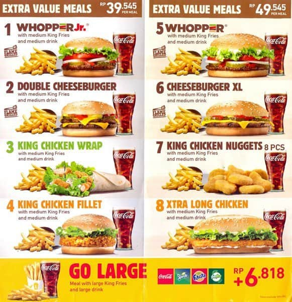 Burger King Menu, Menu for Burger King, Kuta, Bali - Zomato Indonesia