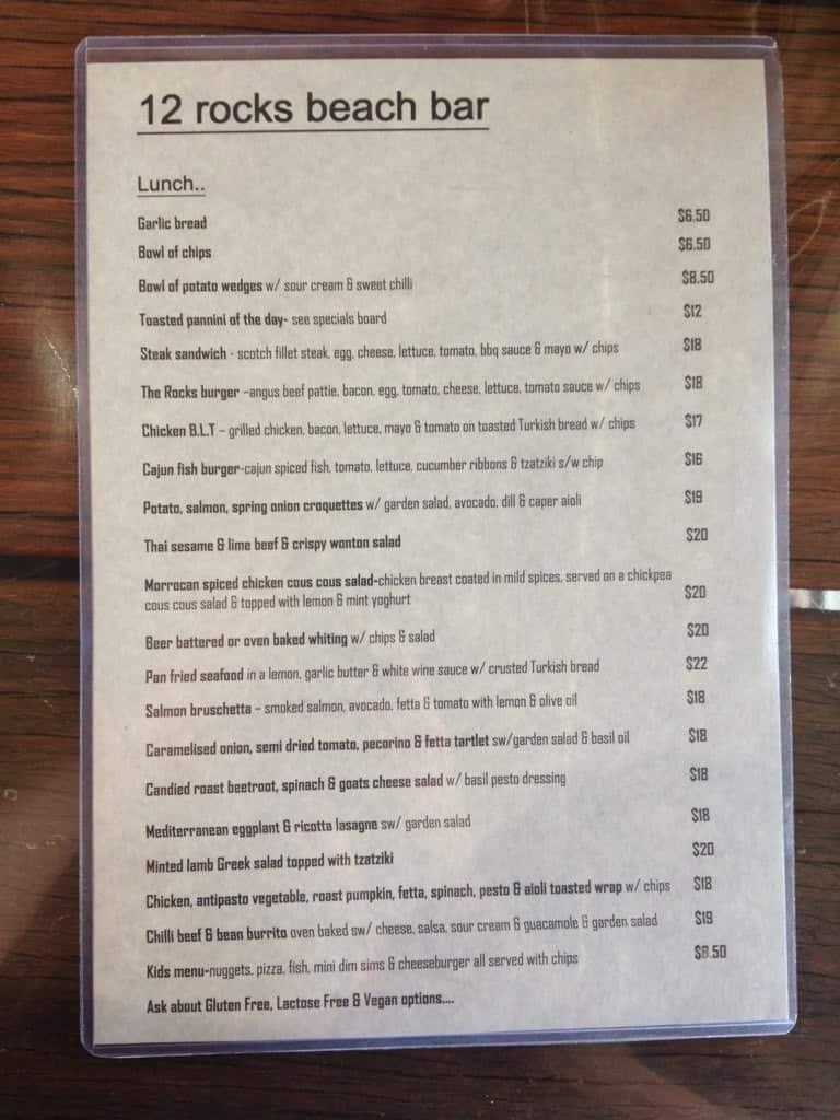 12 rocks cafe bar menu menu for 12 rocks cafe bar for Porte 12 restaurant
