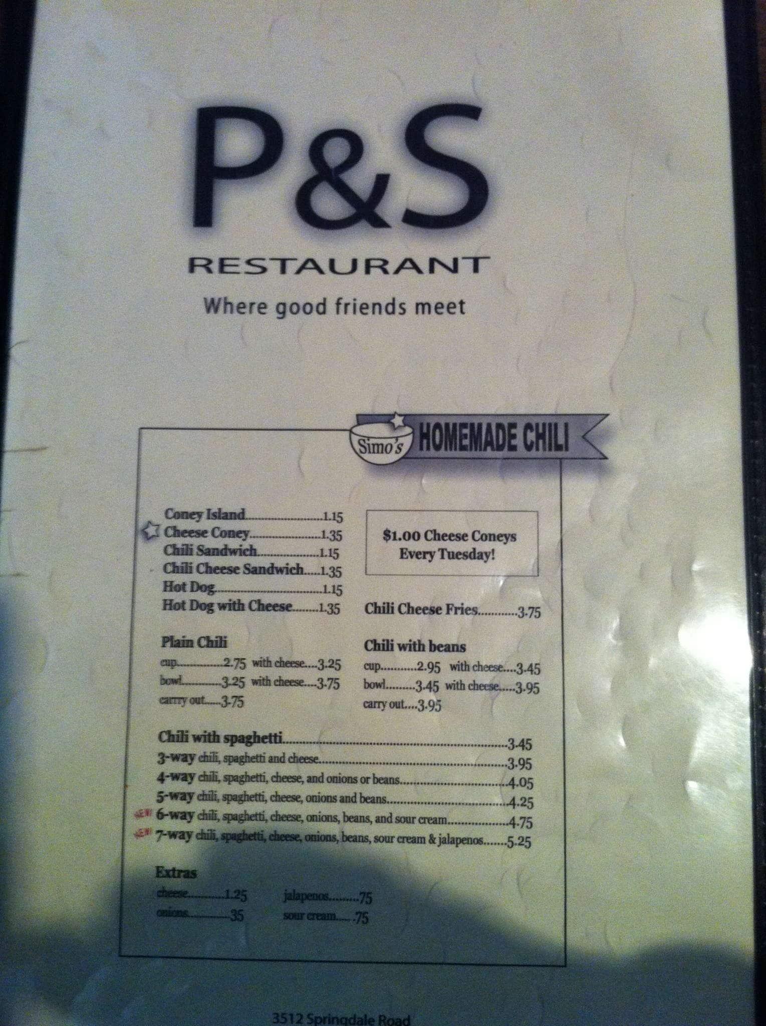 P S Restaurant Colerain Township Menu