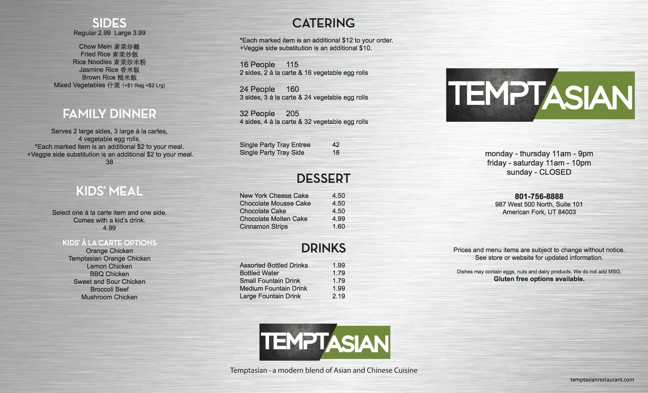 Temptasian Restaurant Menu