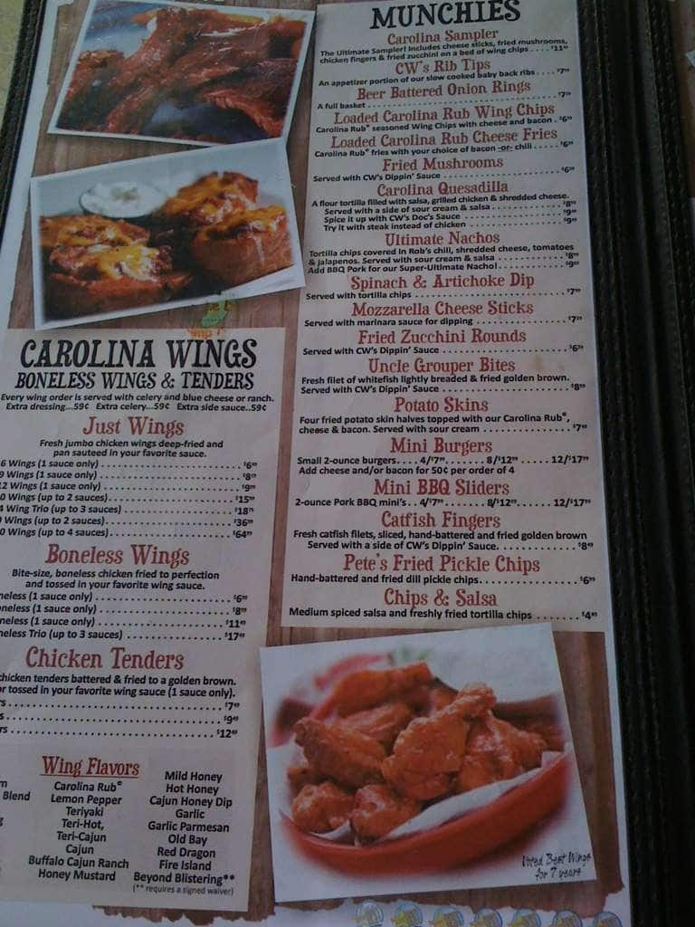 Carolina Wings Rib House Menu