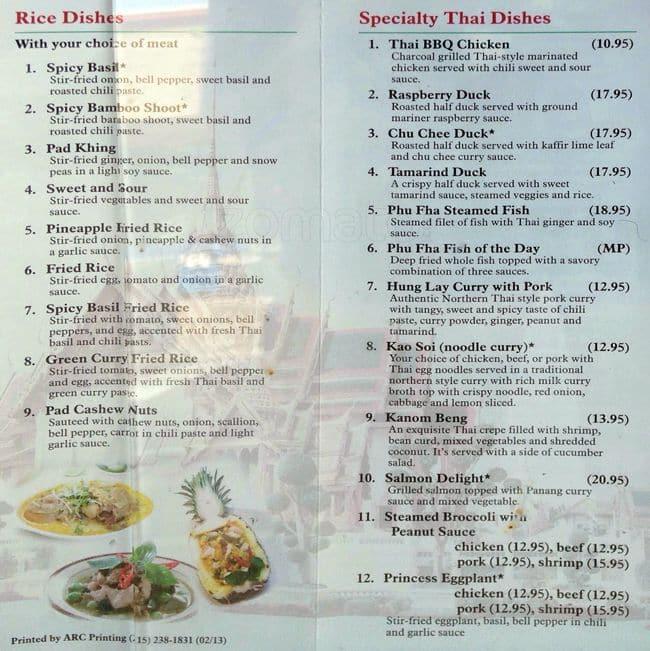 Phu Fha Thai Restuarant Menu Menu For Phu Fha Thai