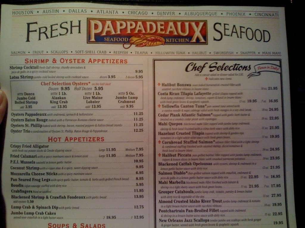 Pappadeaux Seafood Kitchen Drink Menu