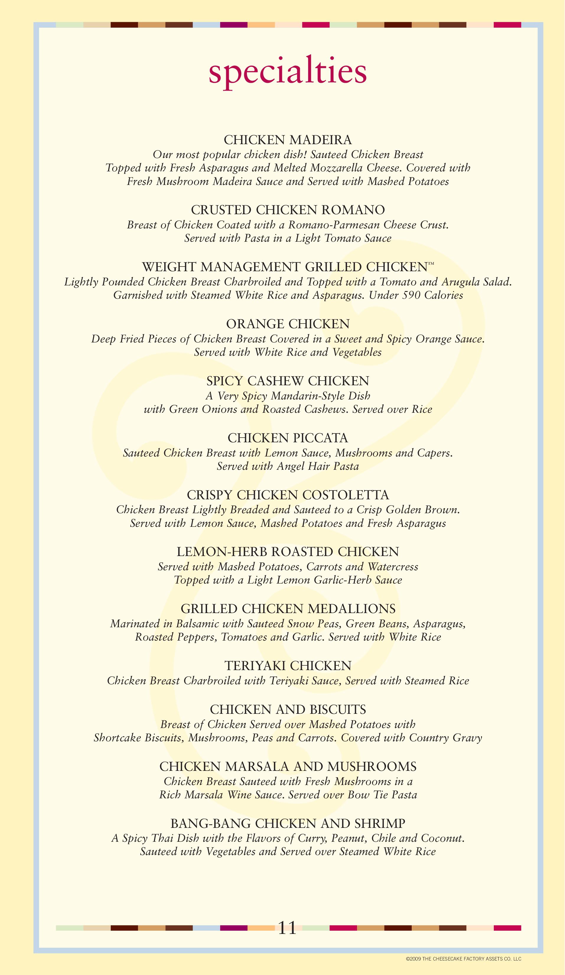 Wild image with printable cheesecake factory menu
