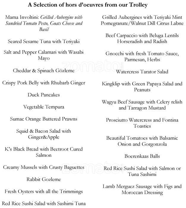The Dining Room Menu, Menu for The Dining Room, Woodstock, Cape ...