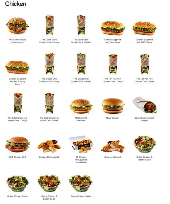 меню макдональдса в картинках казань свежие объявления продаже