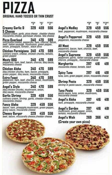 Angel 39 s pizza menu menu for angel 39 s pizza bel air for Terrace 33 makati menu