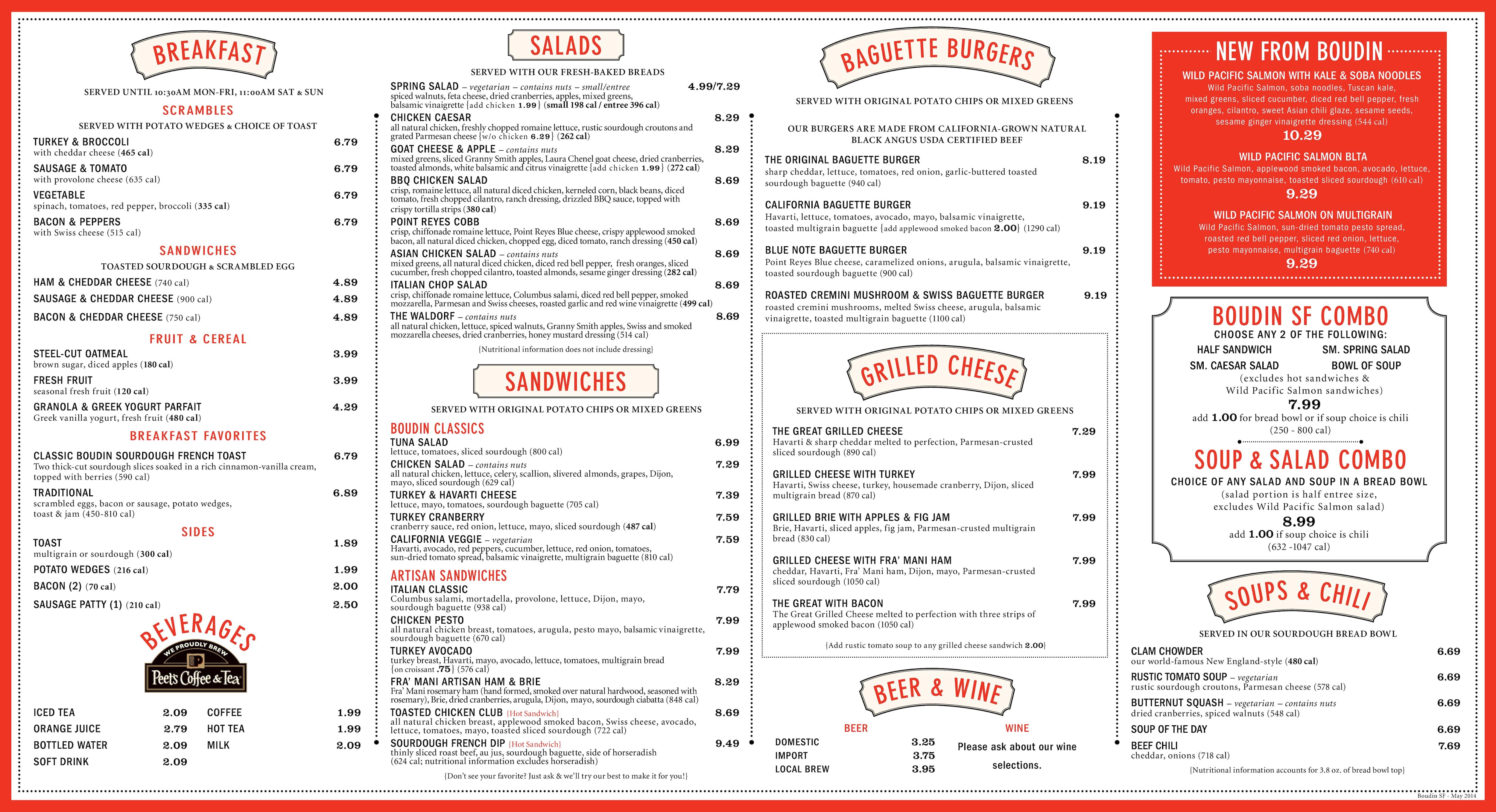 boudin sf menu menu for boudin sf costa mesa orange