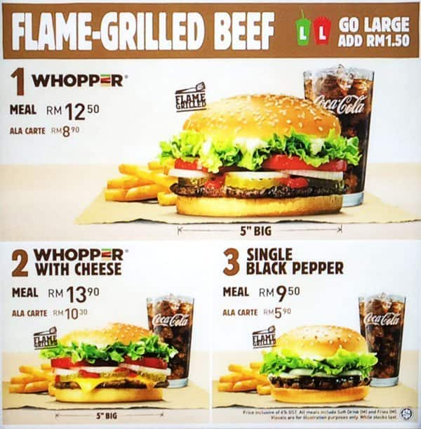 Harga Whopper Ala Carte Burger King.Burger King Menu Menu For Burger King Brickfields Kuala