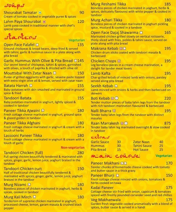 Restaurant Marrakesh Menu Lunch