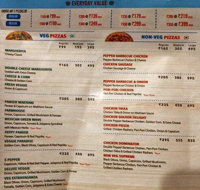 Domino S Pizza Menu Menu For Domino S Pizza Sarabha Nagar