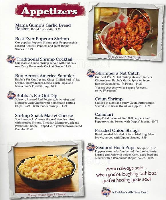Bubba Gump London Food Menu