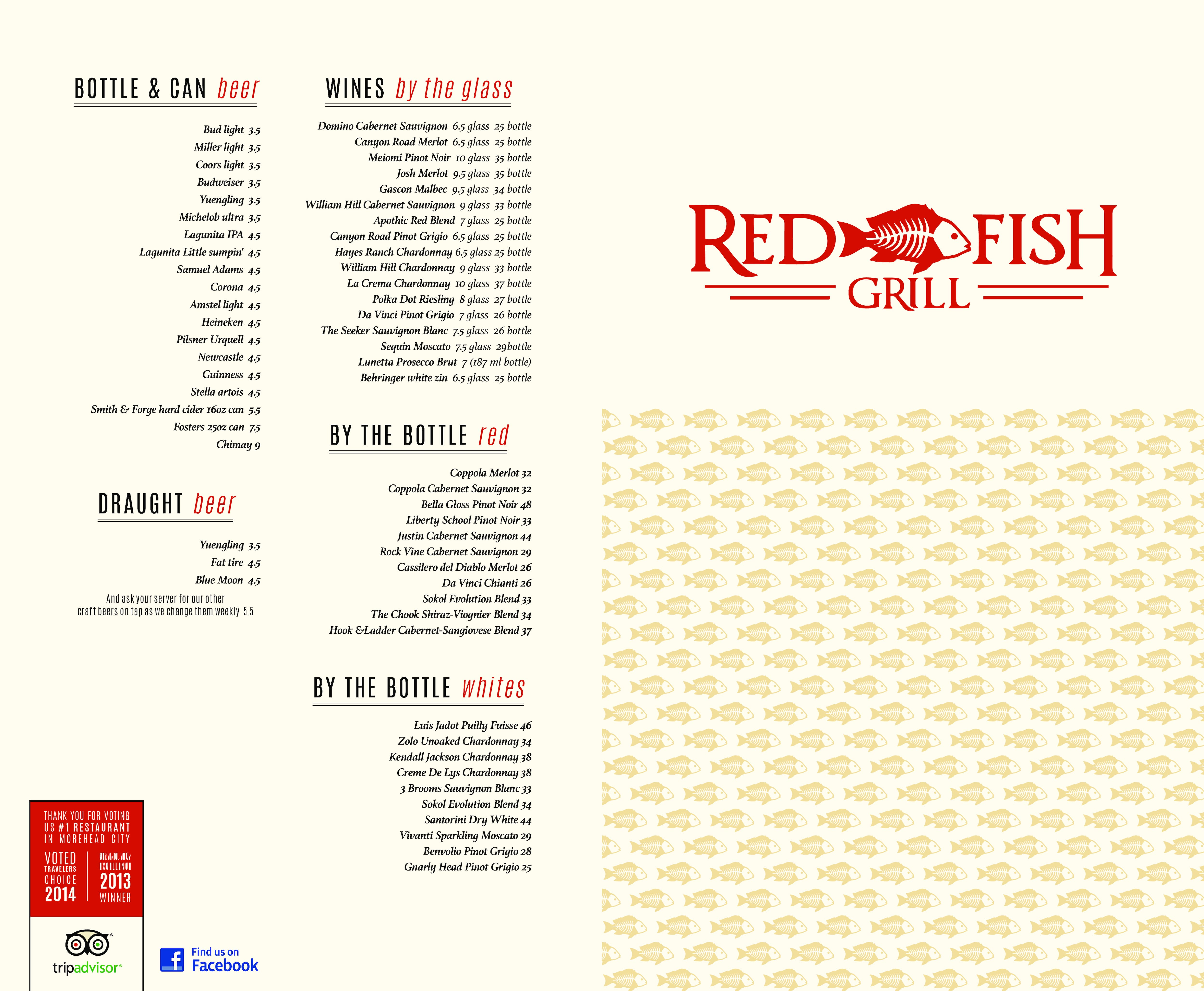 Red fish grill menu menu for red fish grill morehead for Fish grill menu