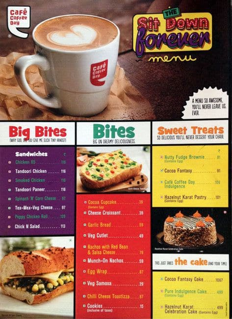 Cafe Coffee Day Menu, Menu for Cafe Coffee Day, Park ...