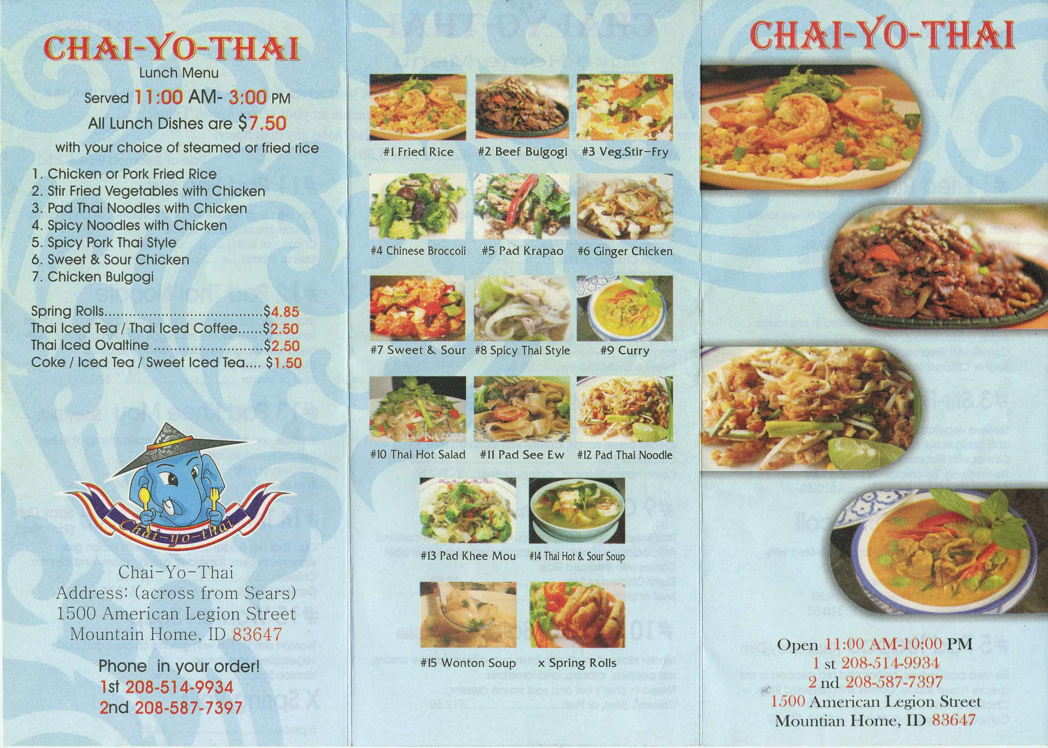 Chai yo thai mountain home menu ideas.