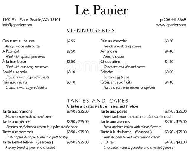 Le Panier Menu, Menu for Le Panier, Downtown, Seattle - Urbanspoon ...