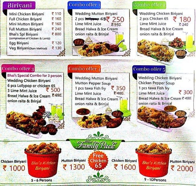 Bhais Kitchen Menu