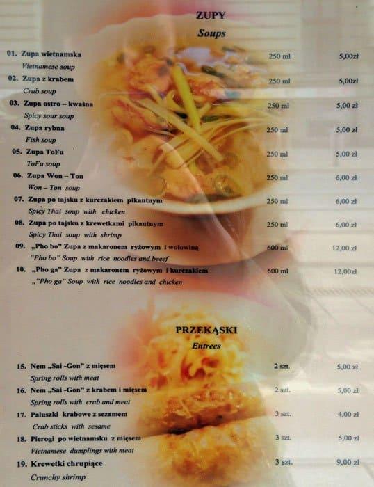 Hoan Kiem Menu Menu Restauracji Hoan Kiem Stare Miasto