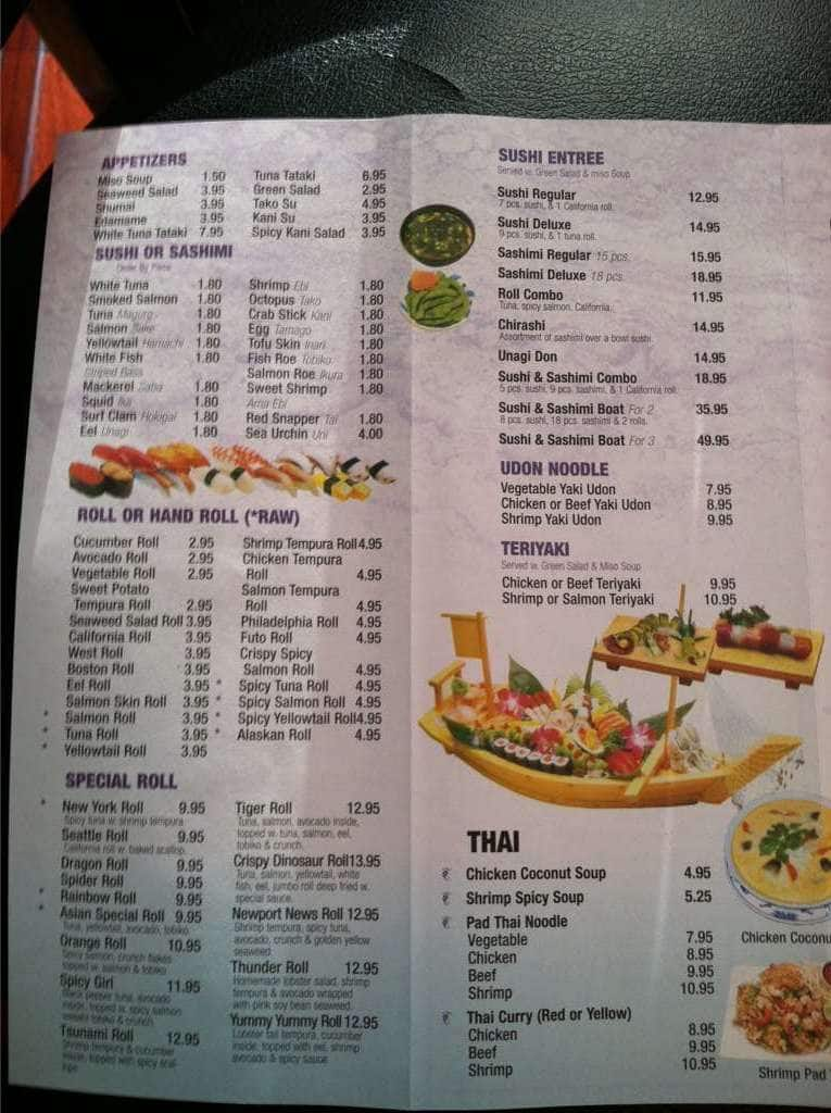 asian cafe and grill menu