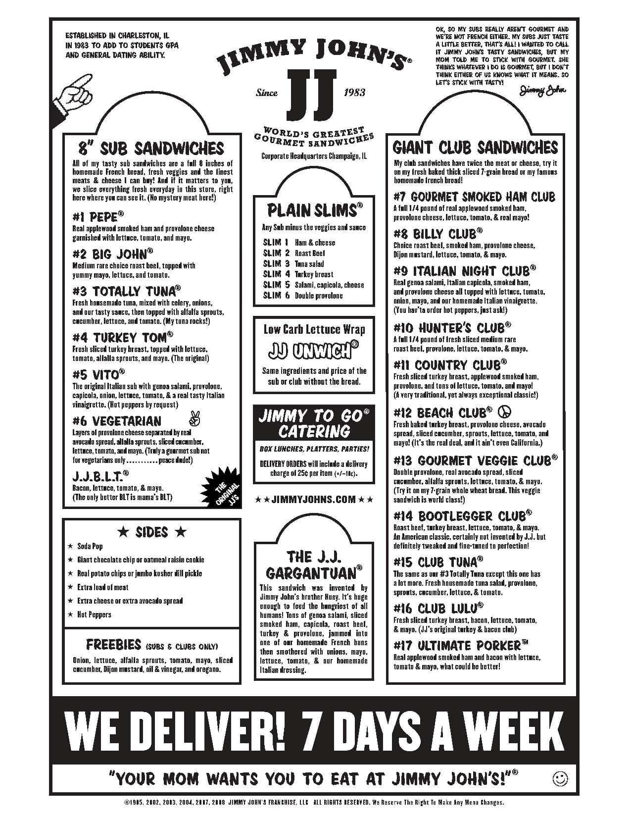 jimmy john's menu, menu for jimmy john's, germantown, memphis