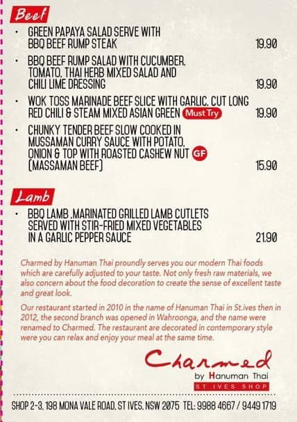 Charmed St Ives Menu