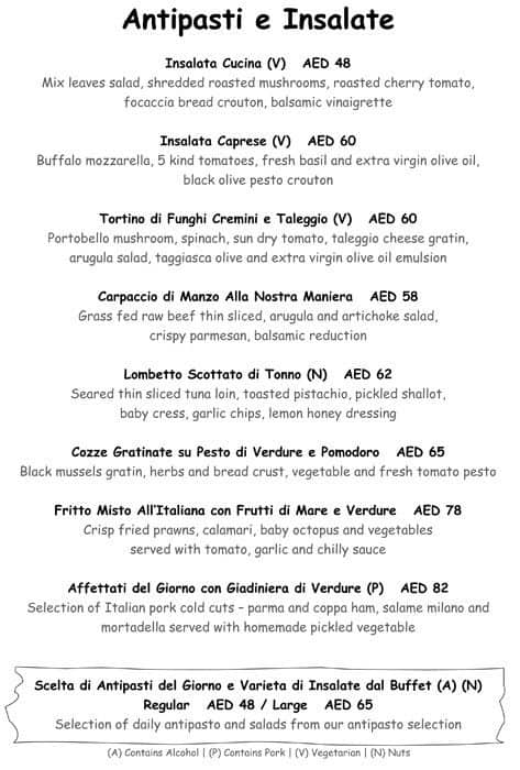 Cucina jw marriott hotel dubai menu zomato for Menu cucina