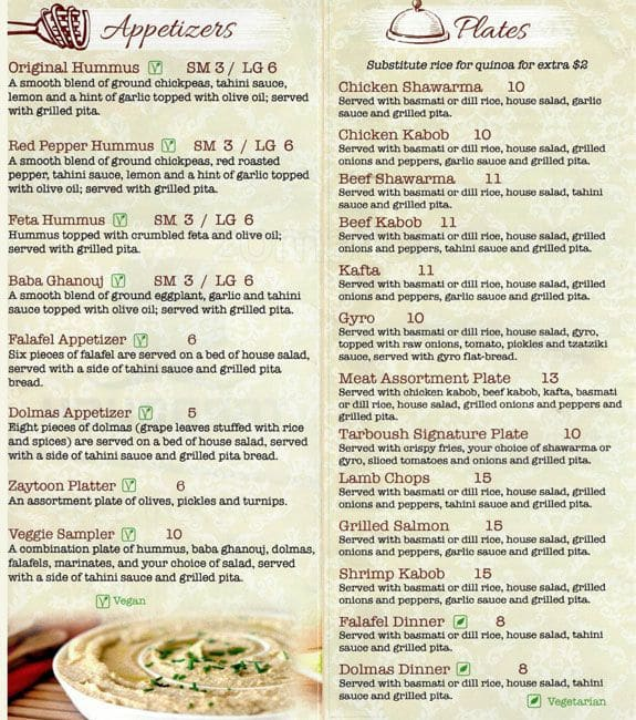 Tarboush mediterranean grill menu urbanspoon zomato for Mediterranean menu