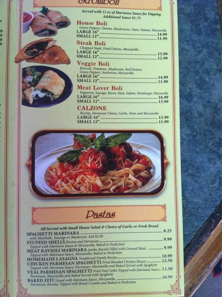Gettysburg menu