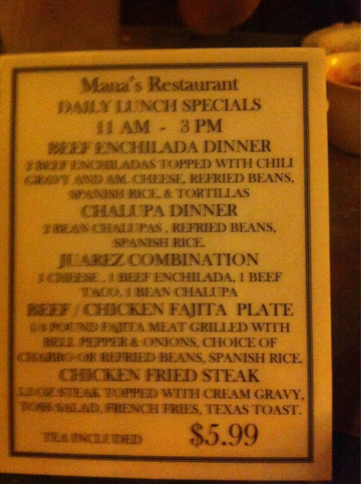 Mana\'s Restaurant Menu, Menu for Mana\'s Restaurant, San Marcos, San ...