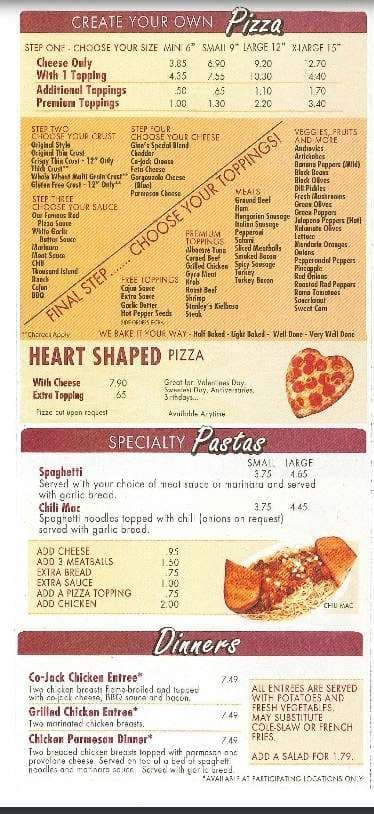 Menu At The Original Gino S Pizza Restaurant Perrysburg N Dixie Hwy