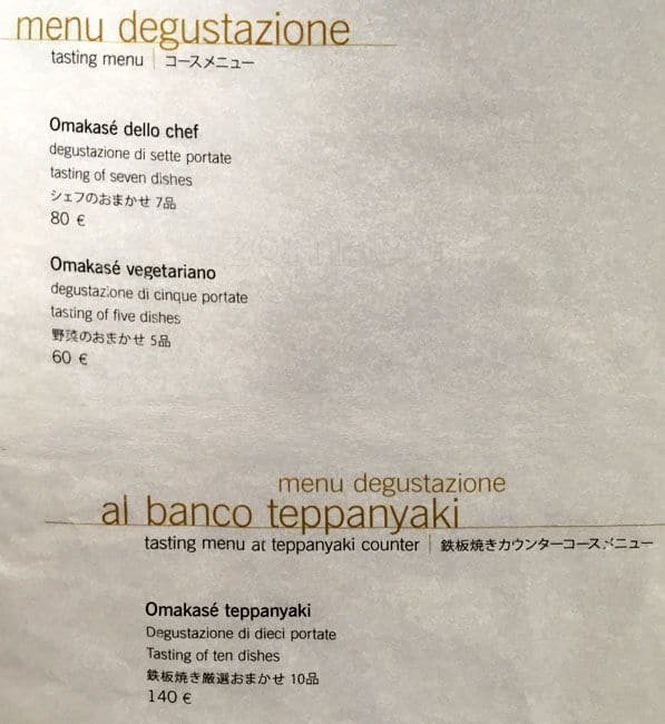 Sushi B Menu