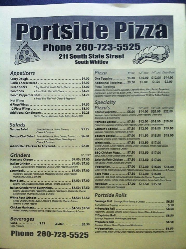 Portside Pizza Menu