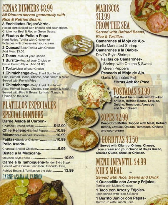 Menu At Taco Real Restaurant Carol Stream