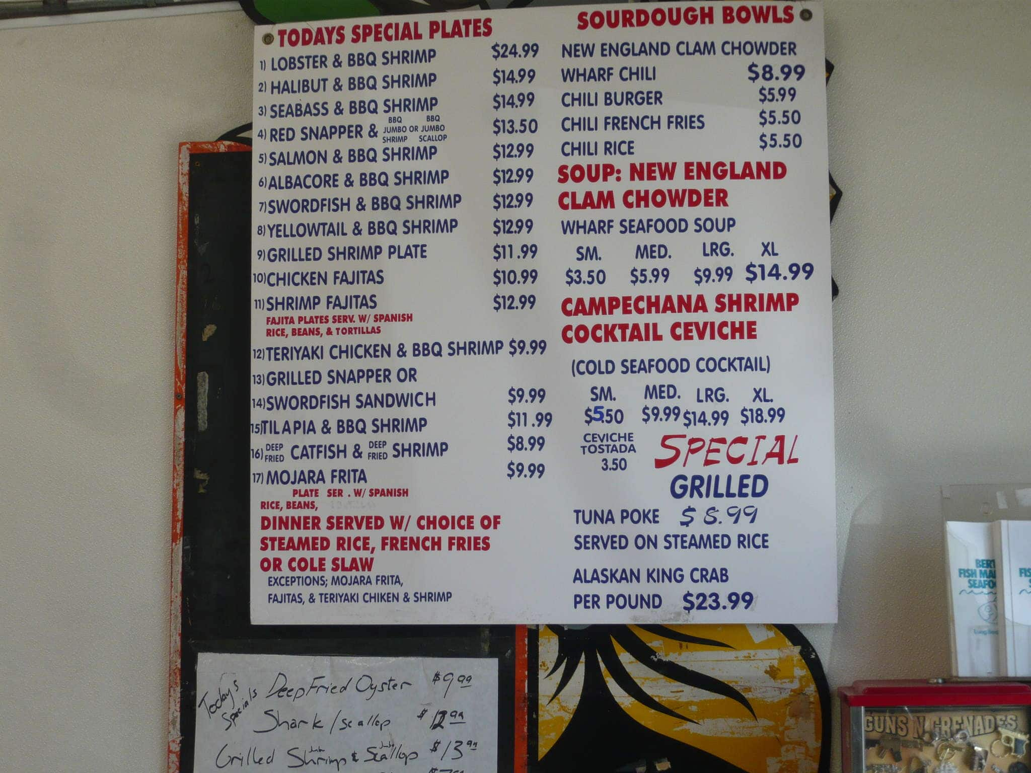 Menu at berth 55 fish market and seafood deli restaurant for San pedro fish market prices
