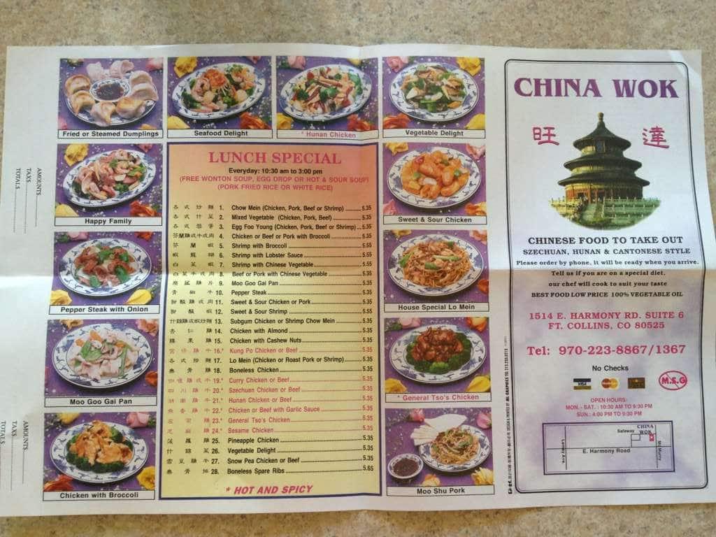 menu at china wok restaurant fort collins