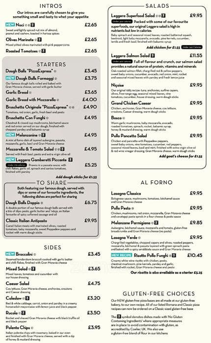 Pizza Express Menu Menu For Pizza Express City Centre