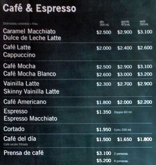 Cafe Vida Menu Mexico
