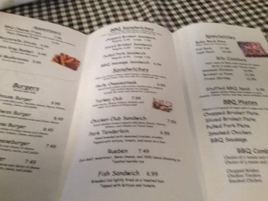 menu at baxter springs smokehouse bbq, baxter springs