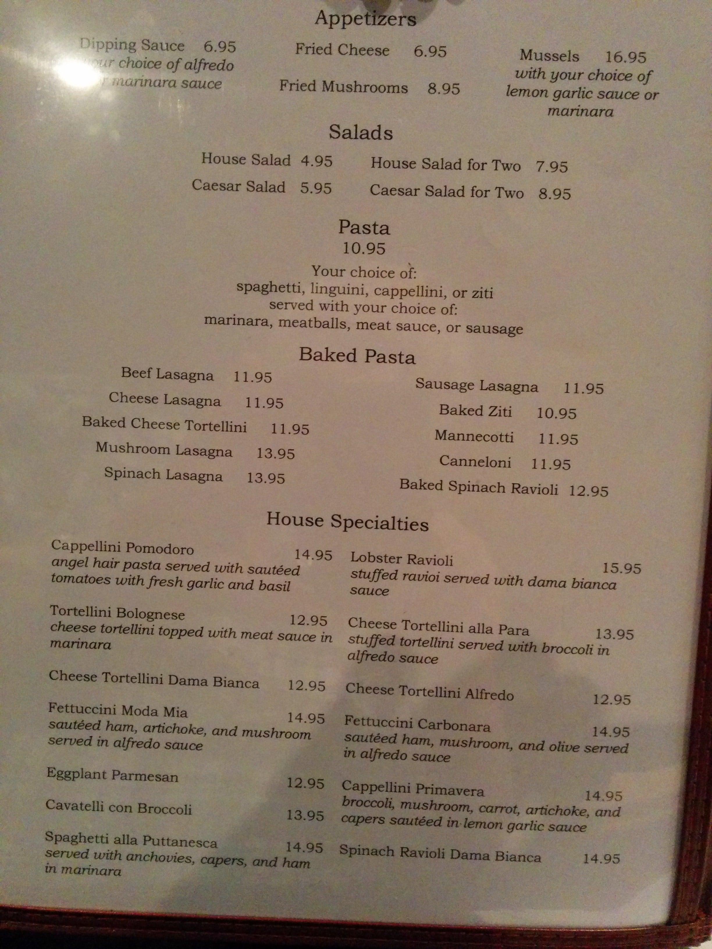 Bagheri Italian Restaurant Menu Urbanspoonzomato