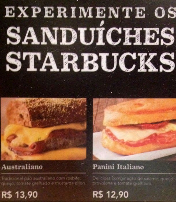 Starbucks Coffee Menu Menu For Starbucks Coffee Consolacao