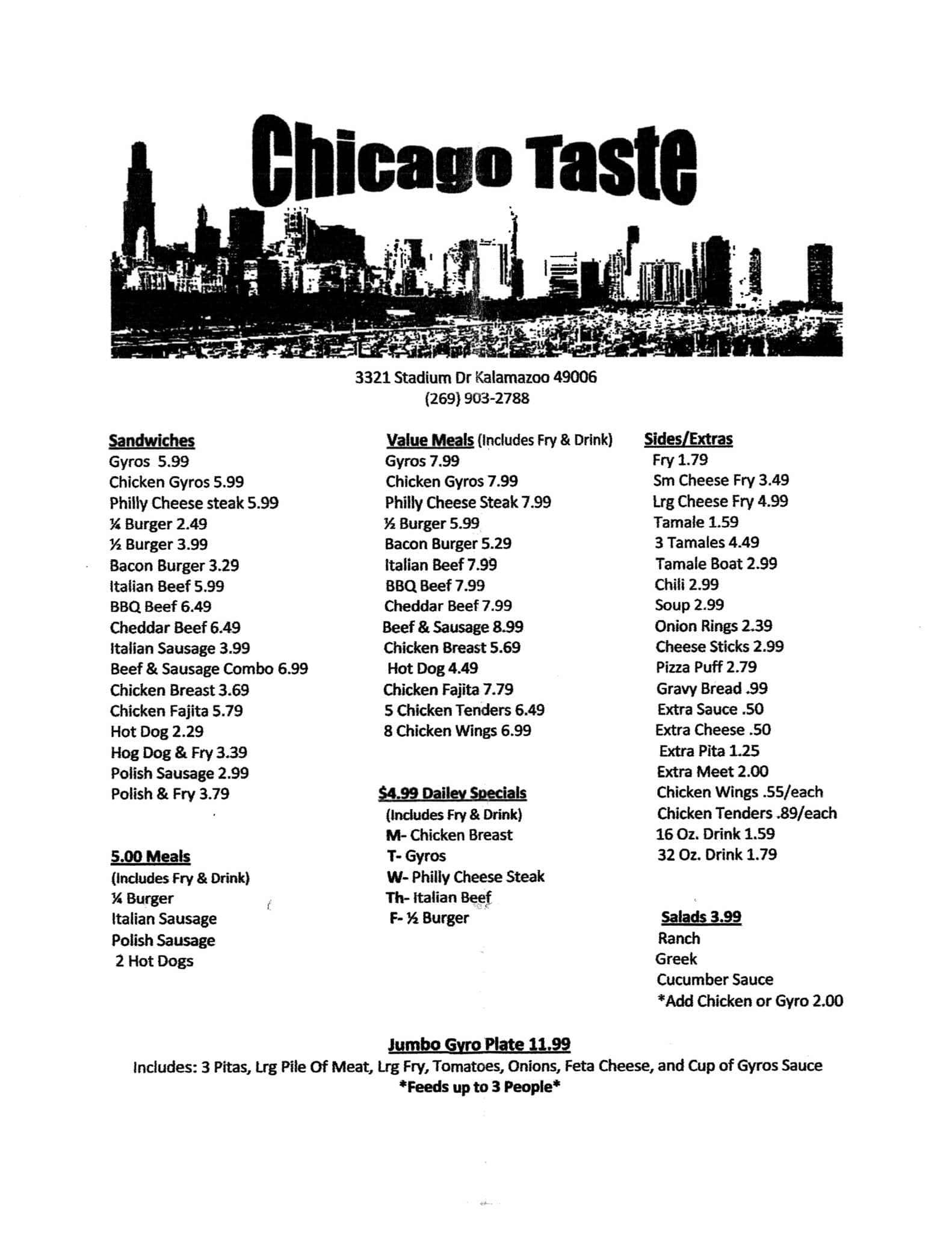 Chicago Taste Menu