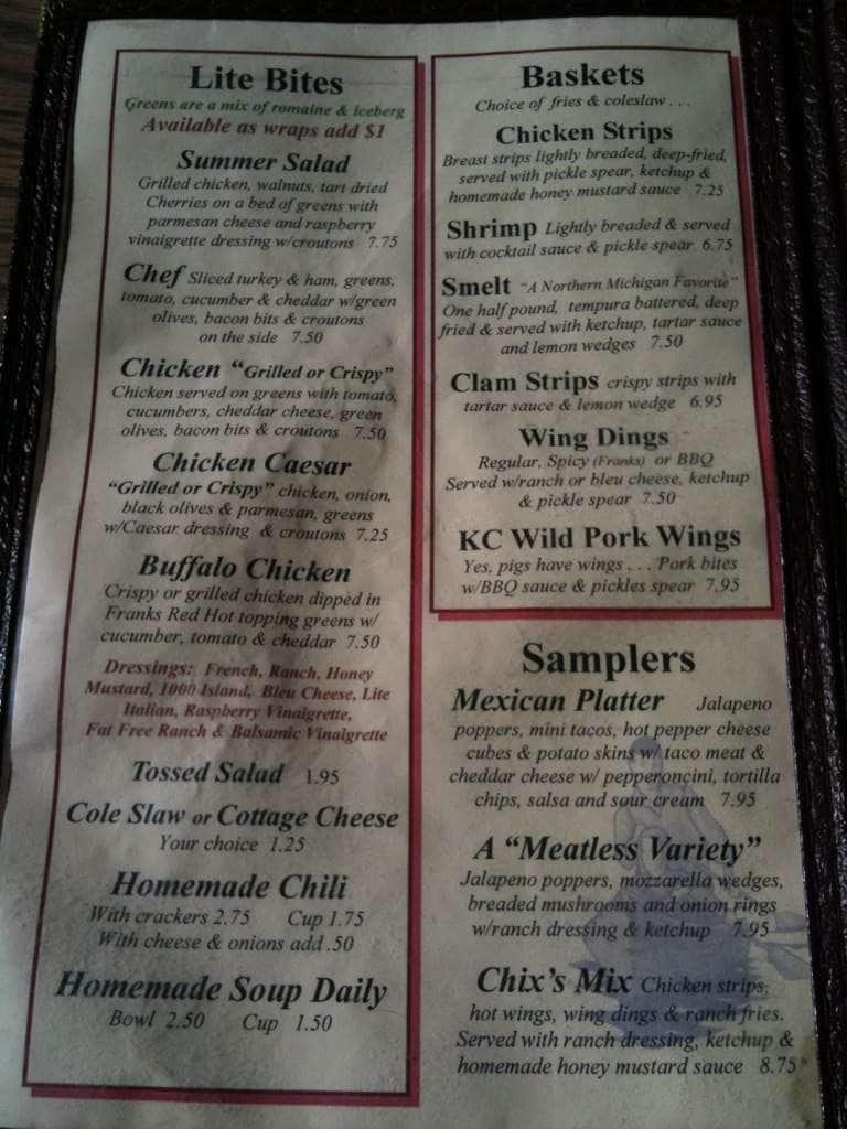 Menu at Spike\'s Keg \'o\' Nails restaurant, Grayling