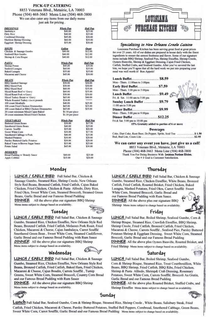 Louisiana Purchase Kitchen Menu New Orleans