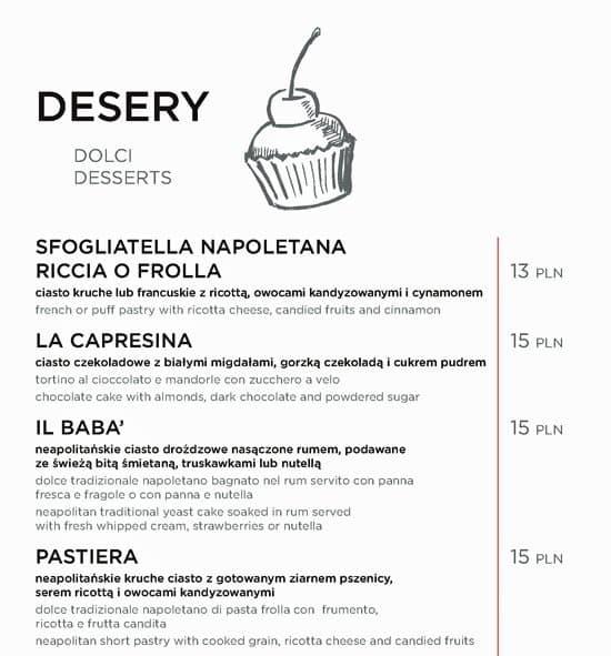 меню ресторана Spacca Napoli варшава