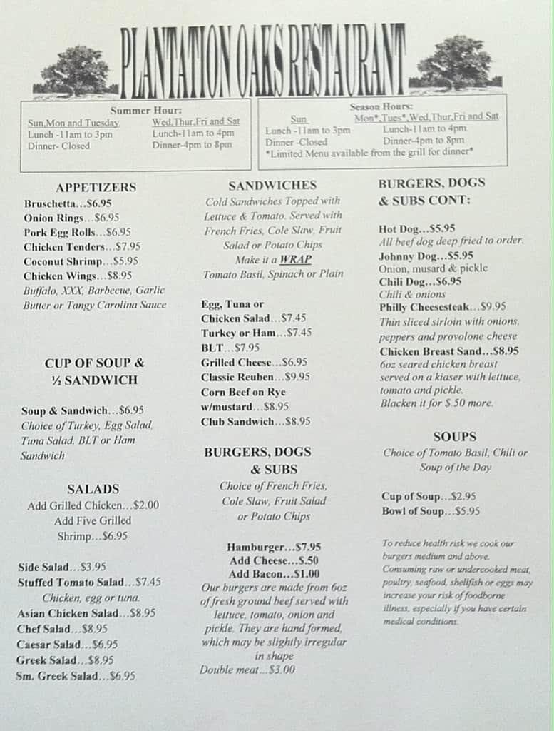 Plantation Oaks Restaurant Menu Urbanspoon Zomato